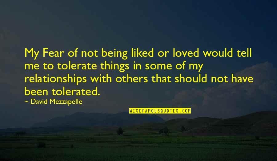 Being Tolerated Quotes By David Mezzapelle: My Fear of not being liked or loved