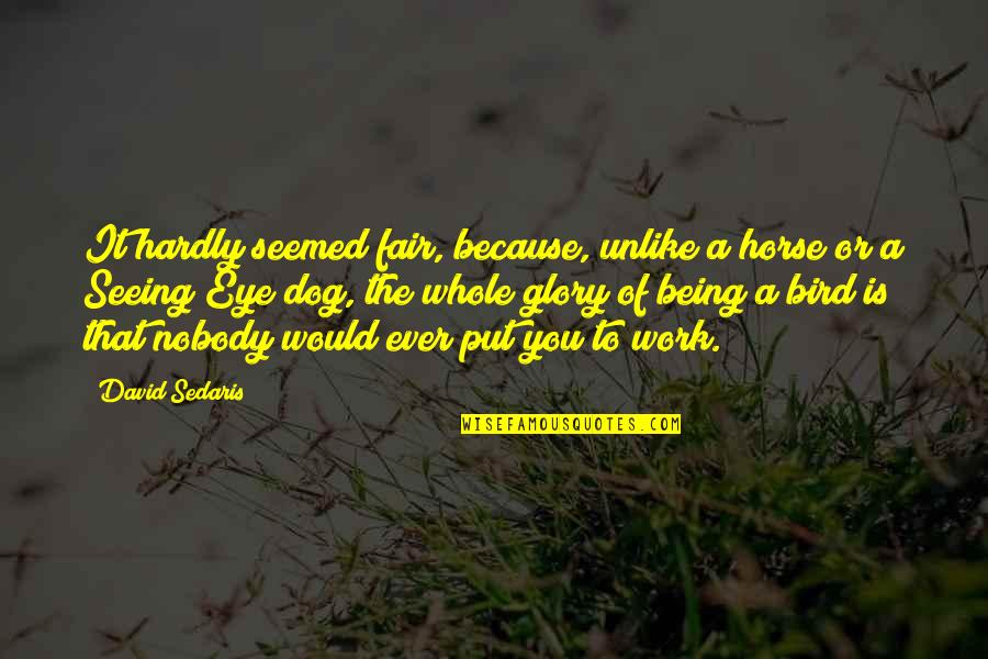 Being Whole Quotes By David Sedaris: It hardly seemed fair, because, unlike a horse