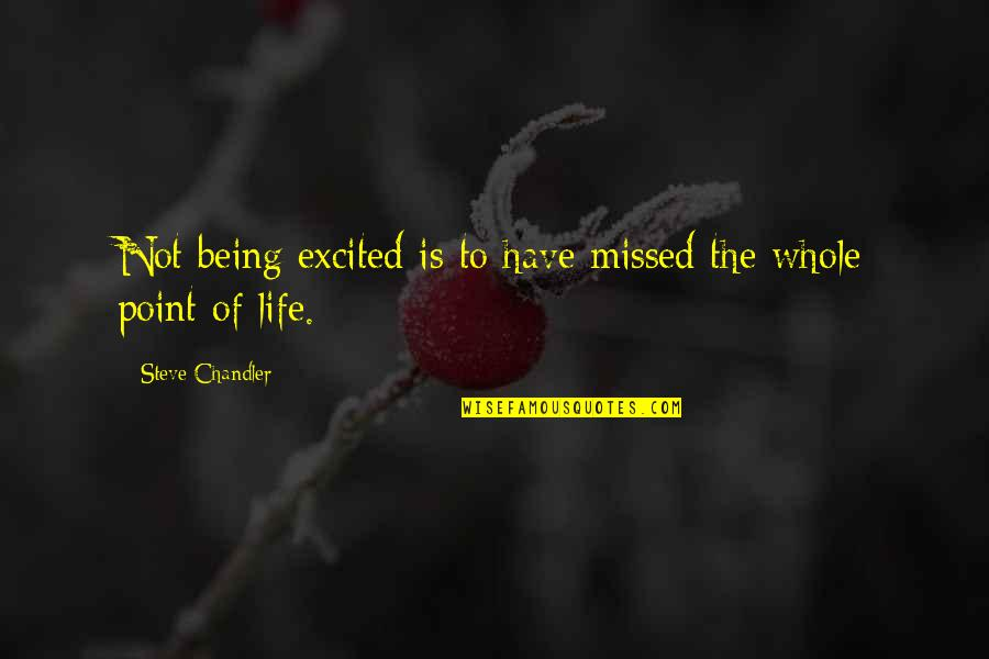 Being Whole Quotes By Steve Chandler: Not being excited is to have missed the