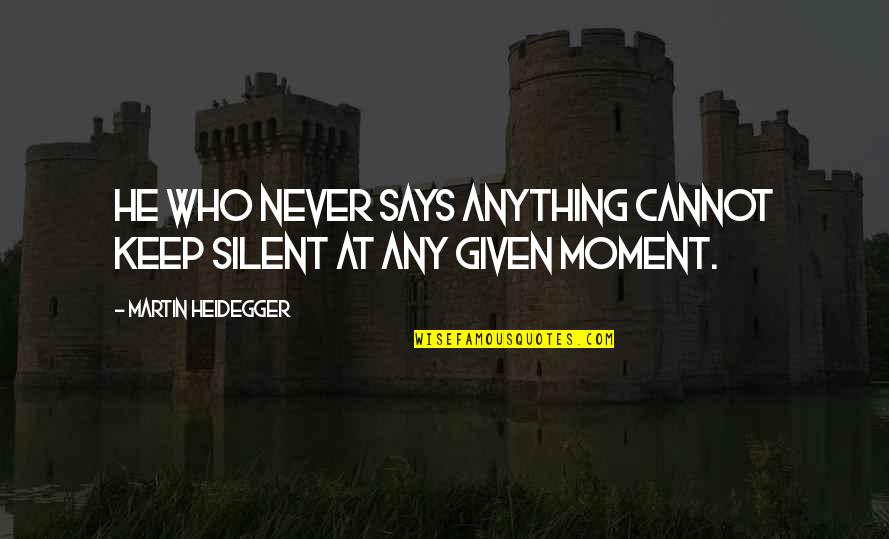 Being Wild Tumblr Quotes By Martin Heidegger: He who never says anything cannot keep silent