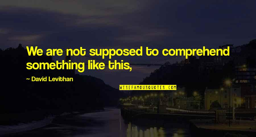 Bejewelled Quotes By David Levithan: We are not supposed to comprehend something like