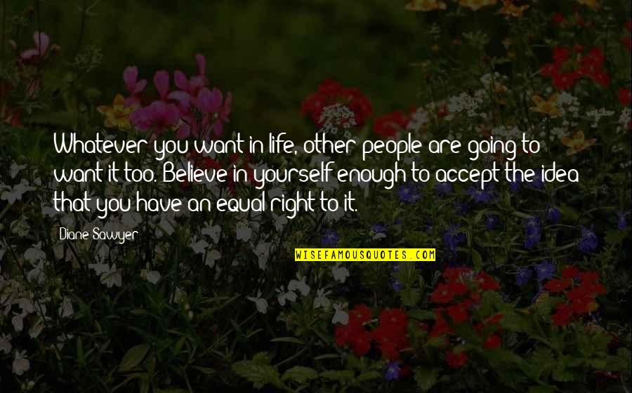 Believe Whatever You Want To Believe Quotes By Diane Sawyer: Whatever you want in life, other people are