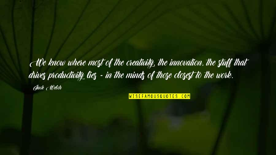 Bella Calamidades Quotes By Jack Welch: We know where most of the creativity, the