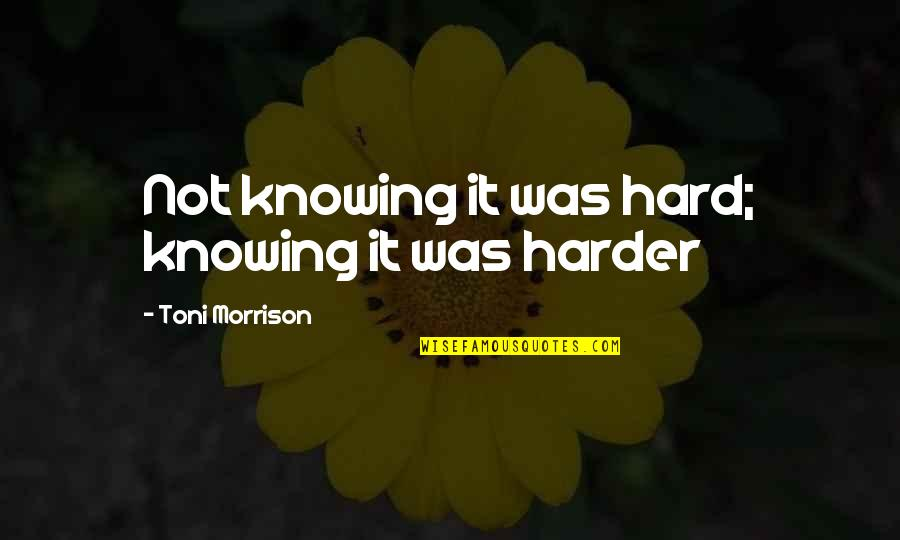 Beloved By Toni Morrison Quotes By Toni Morrison: Not knowing it was hard; knowing it was