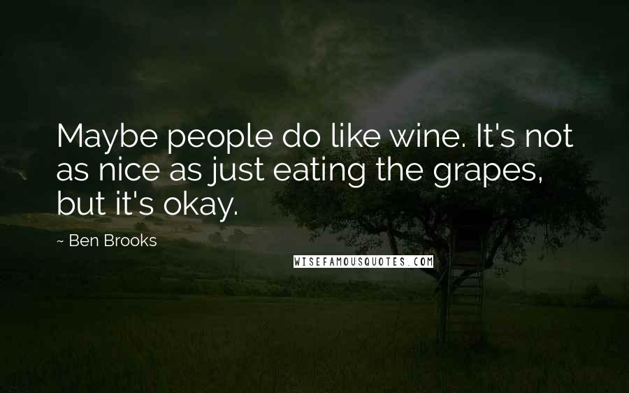 Ben Brooks quotes: Maybe people do like wine. It's not as nice as just eating the grapes, but it's okay.