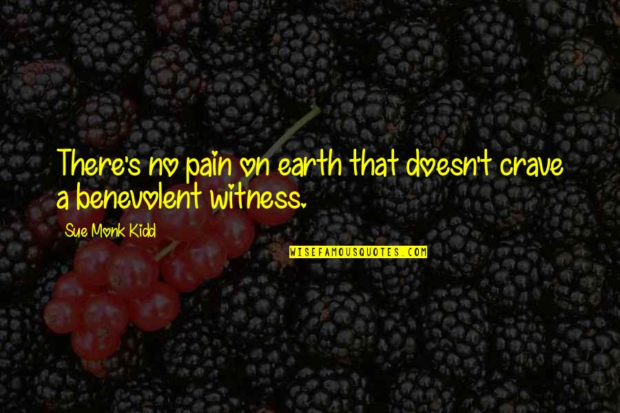 Benevolent Quotes By Sue Monk Kidd: There's no pain on earth that doesn't crave
