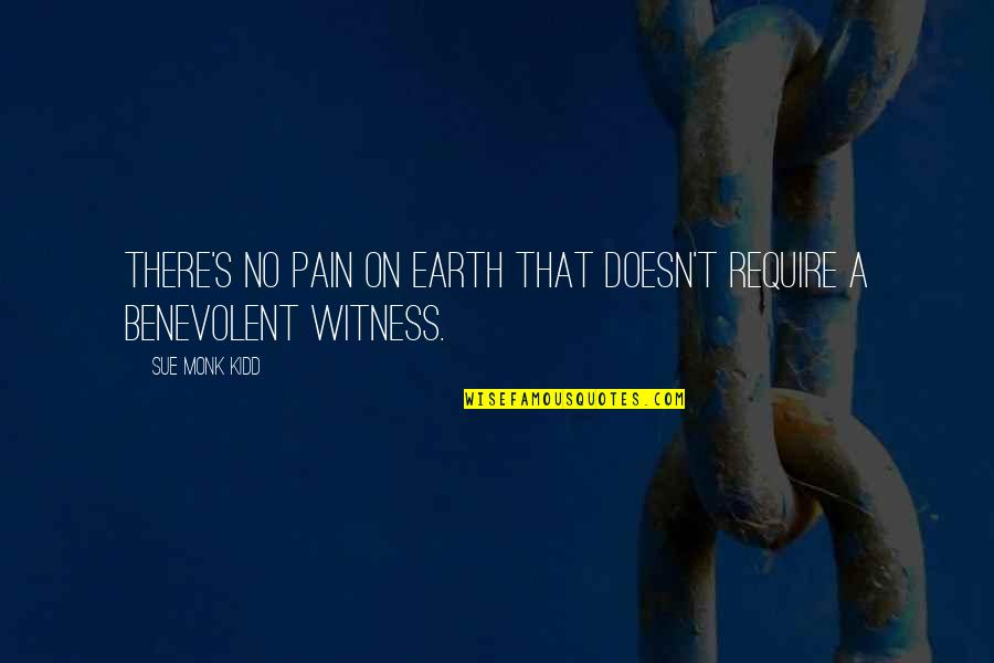 Benevolent Quotes By Sue Monk Kidd: There's no pain on earth that doesn't require