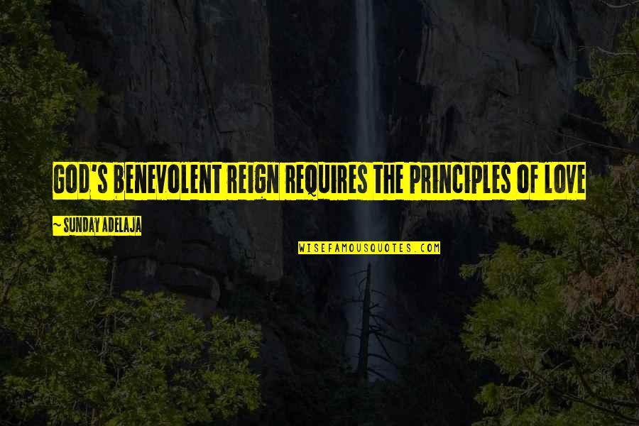 Benevolent Quotes By Sunday Adelaja: God's benevolent reign requires the principles of love