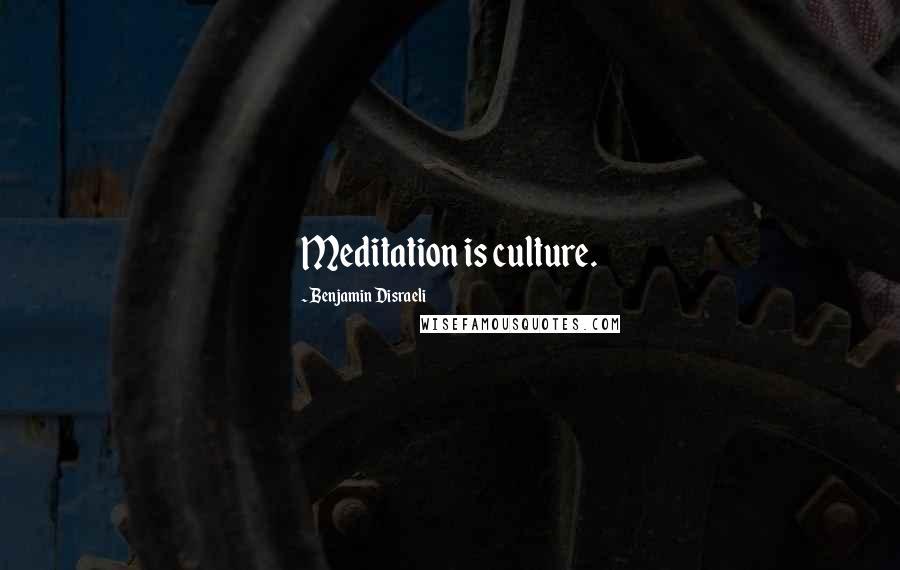 Benjamin Disraeli quotes: Meditation is culture.