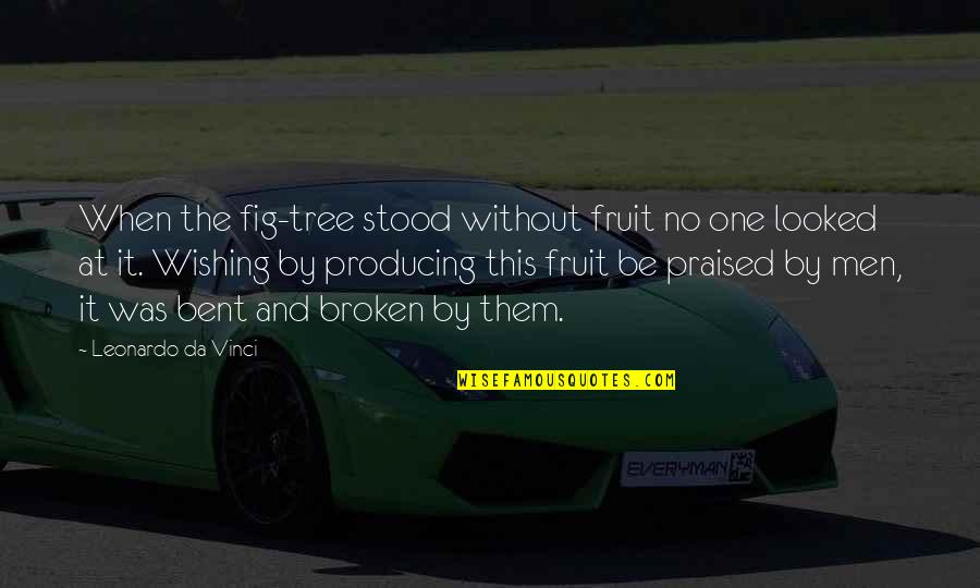 Bent Not Broken Quotes By Leonardo Da Vinci: When the fig-tree stood without fruit no one