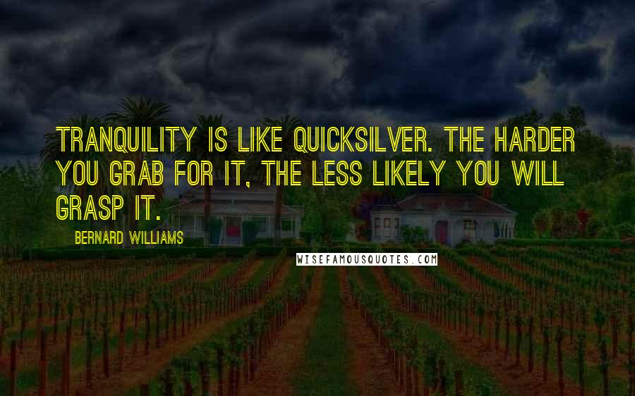 Bernard Williams quotes: Tranquility is like quicksilver. The harder you grab for it, the less likely you will grasp it.
