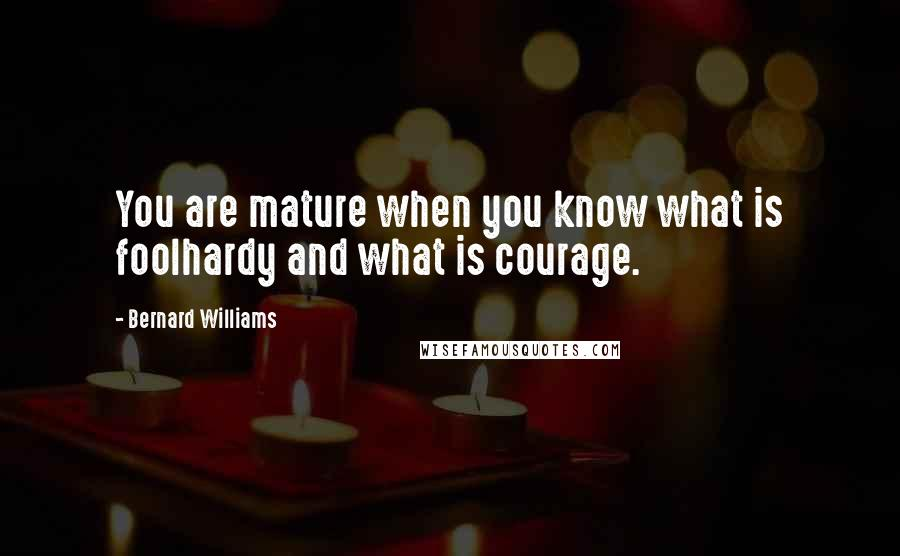 Bernard Williams quotes: You are mature when you know what is foolhardy and what is courage.