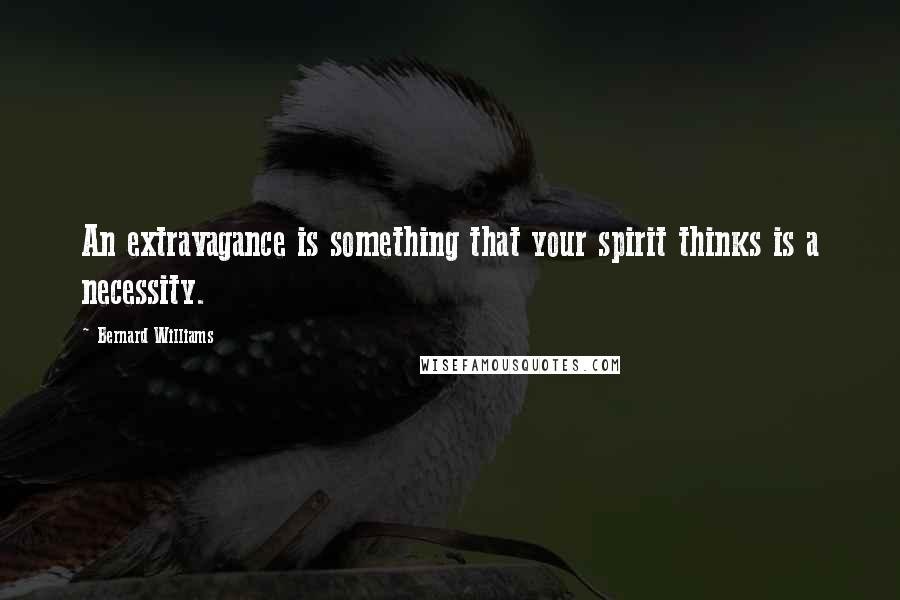 Bernard Williams quotes: An extravagance is something that your spirit thinks is a necessity.