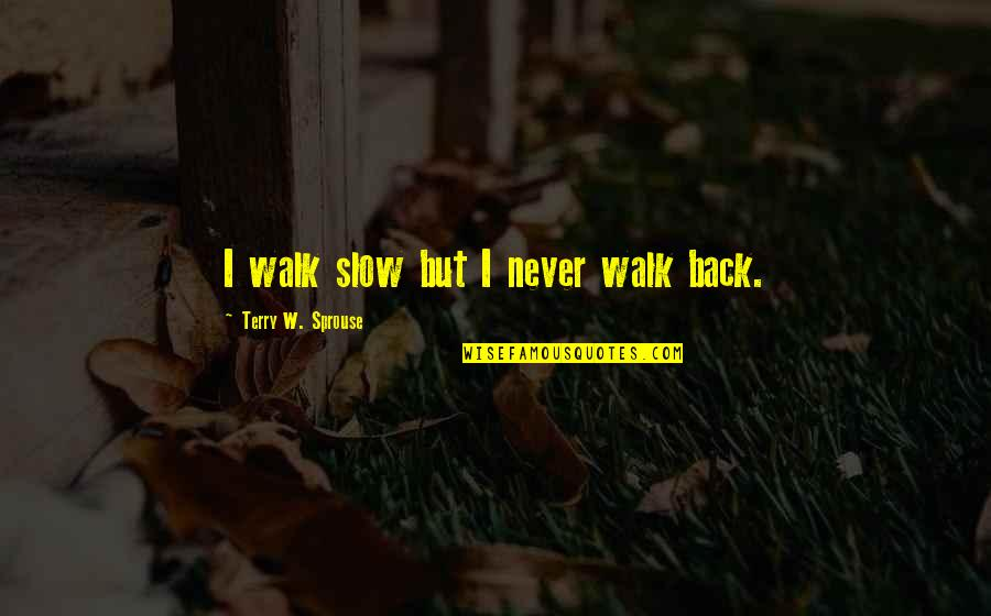 Bernie Williams Quotes By Terry W. Sprouse: I walk slow but I never walk back.