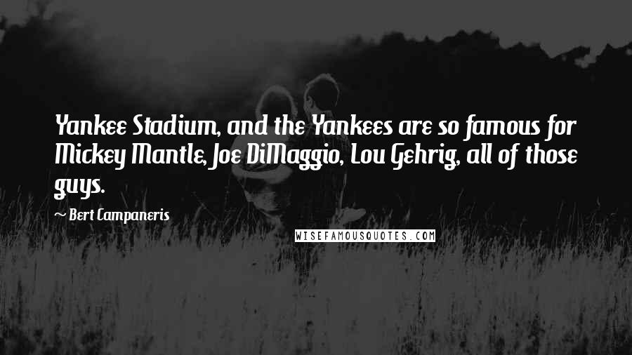 Bert Campaneris quotes: Yankee Stadium, and the Yankees are so famous for Mickey Mantle, Joe DiMaggio, Lou Gehrig, all of those guys.