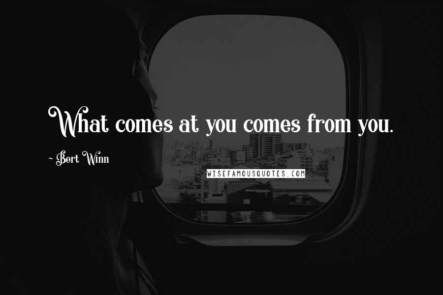 Bert Winn quotes: What comes at you comes from you.