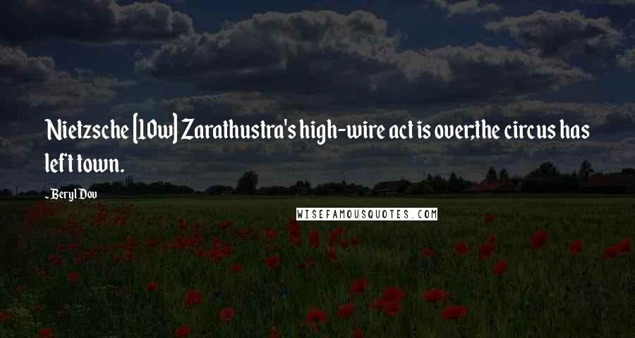 Beryl Dov quotes: Nietzsche [10w] Zarathustra's high-wire act is over;the circus has left town.