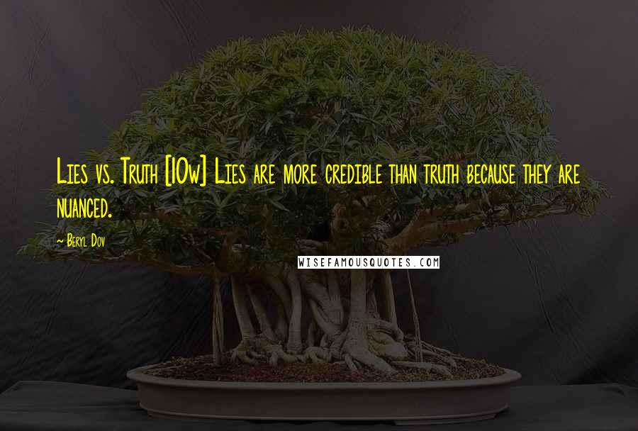 Beryl Dov quotes: Lies vs. Truth [10w] Lies are more credible than truth because they are nuanced.