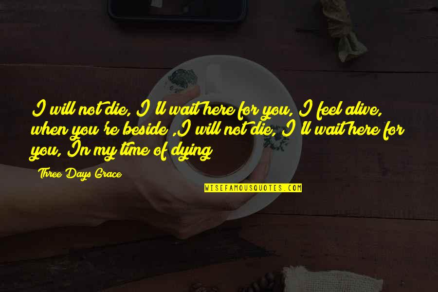 Beside You Quotes By Three Days Grace: I will not die, I'll wait here for