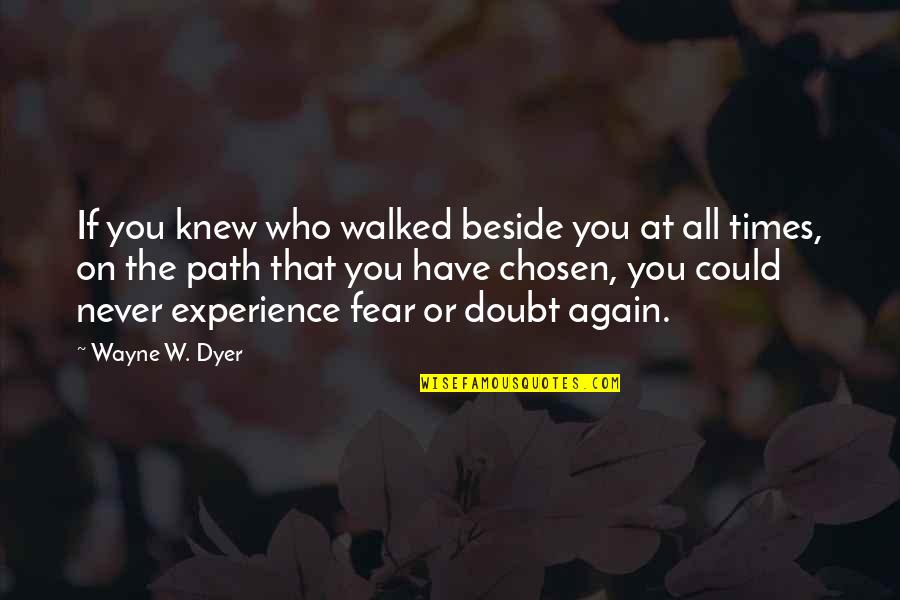 Beside You Quotes By Wayne W. Dyer: If you knew who walked beside you at