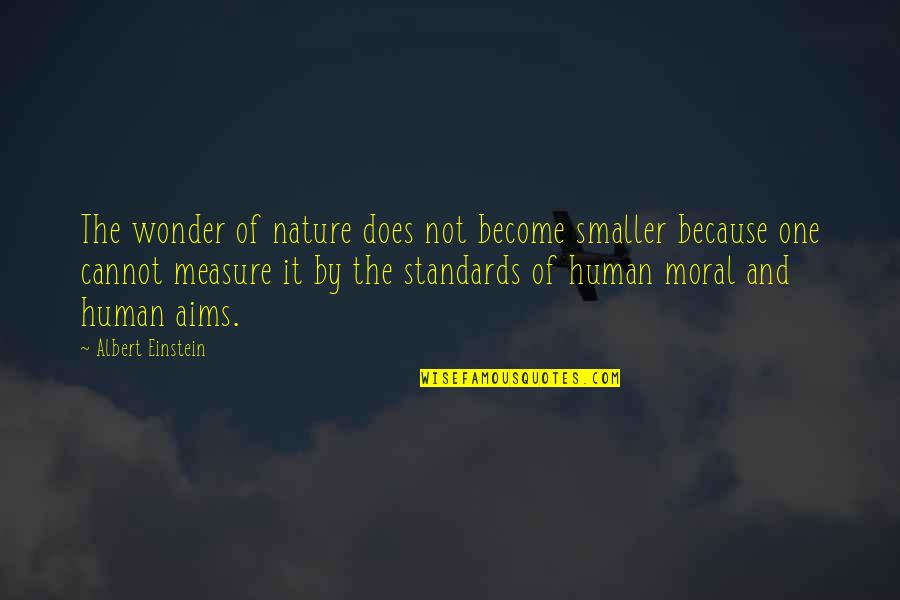 Best Aims Quotes By Albert Einstein: The wonder of nature does not become smaller