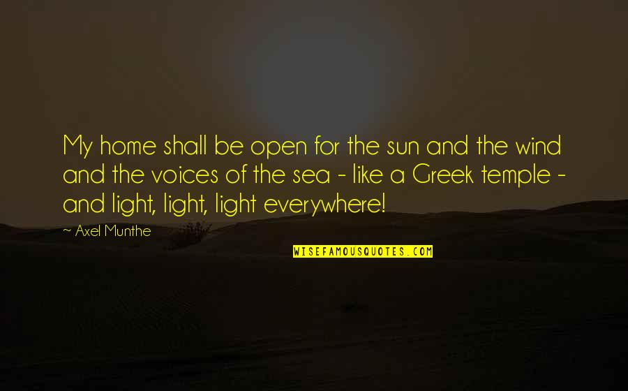 Best Axel Quotes By Axel Munthe: My home shall be open for the sun