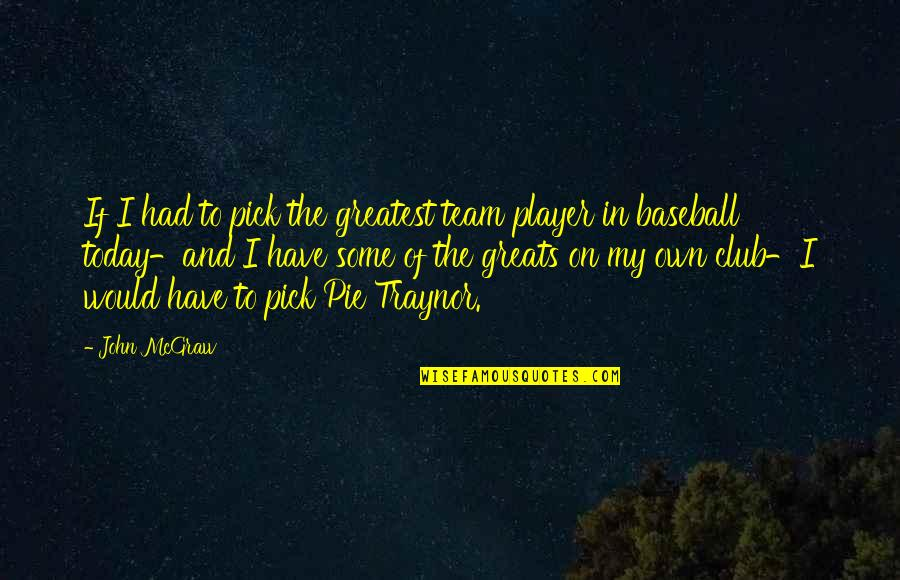 Best Baseball Player Quotes By John McGraw: If I had to pick the greatest team