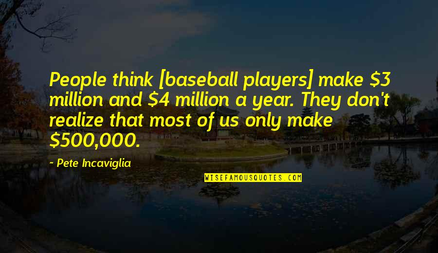 Best Baseball Player Quotes By Pete Incaviglia: People think [baseball players] make $3 million and