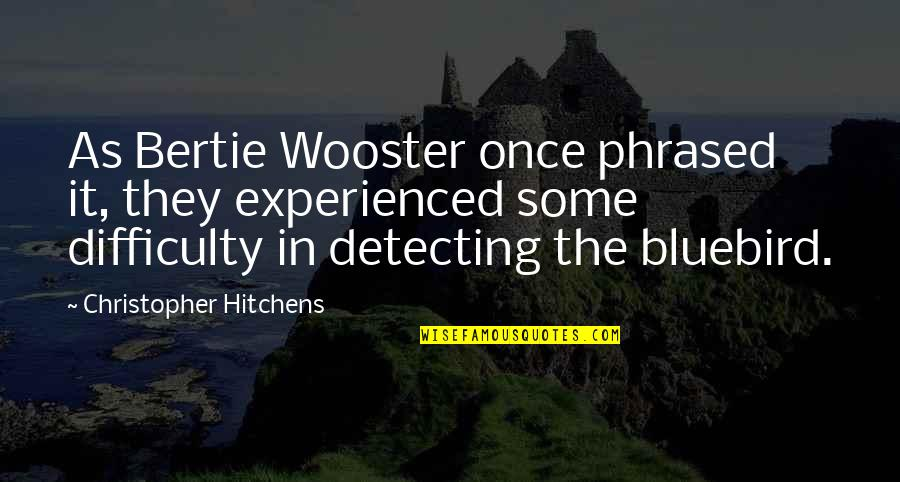 Best Bertie Wooster Quotes By Christopher Hitchens: As Bertie Wooster once phrased it, they experienced