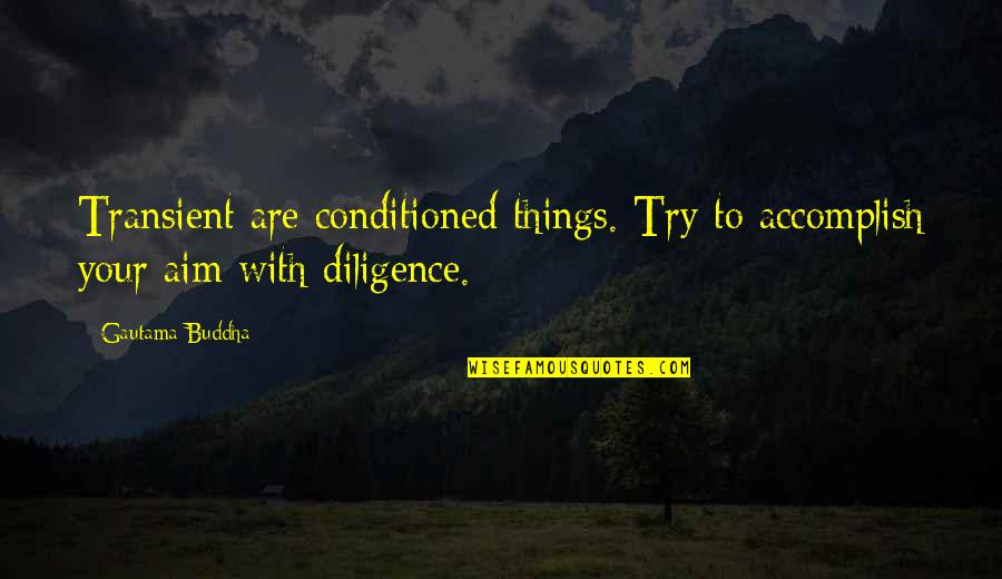 Best Buddha Wisdom Quotes By Gautama Buddha: Transient are conditioned things. Try to accomplish your