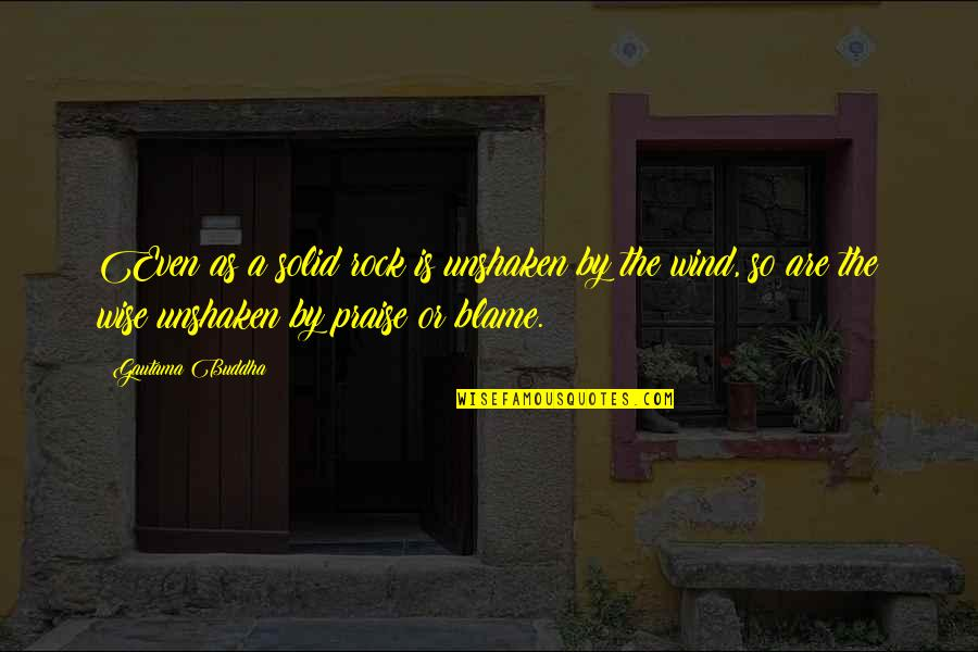 Best Buddha Wisdom Quotes By Gautama Buddha: Even as a solid rock is unshaken by