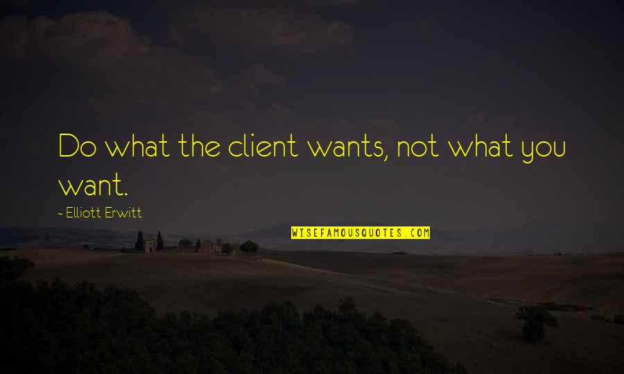 Best Client Quotes By Elliott Erwitt: Do what the client wants, not what you