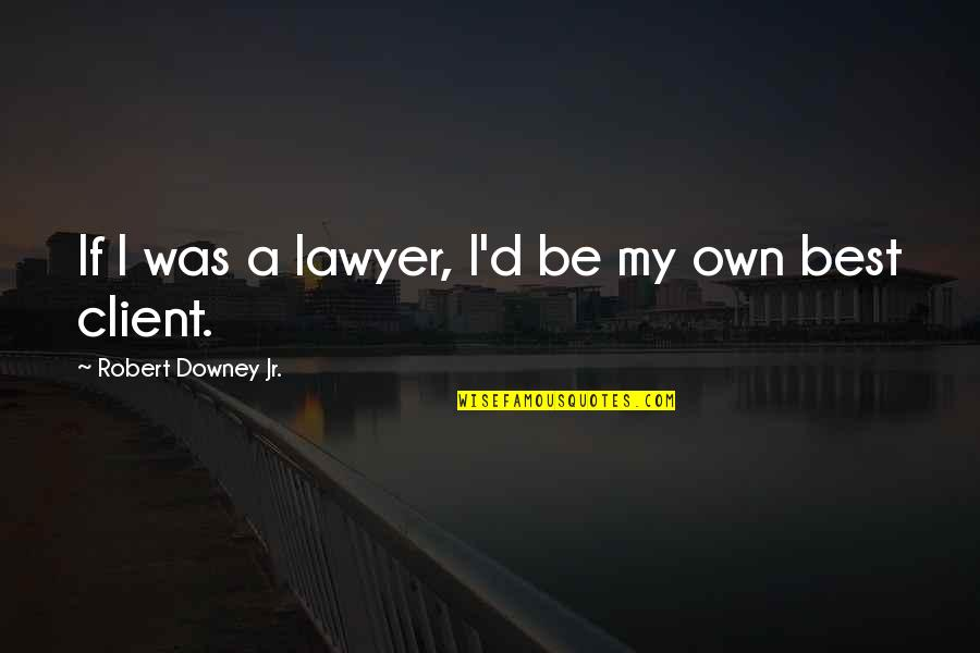 Best Client Quotes By Robert Downey Jr.: If I was a lawyer, I'd be my