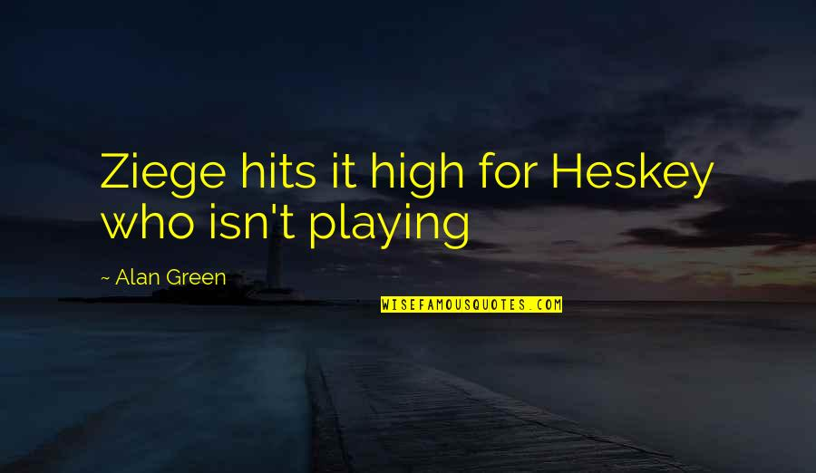 Best Commentators Quotes By Alan Green: Ziege hits it high for Heskey who isn't