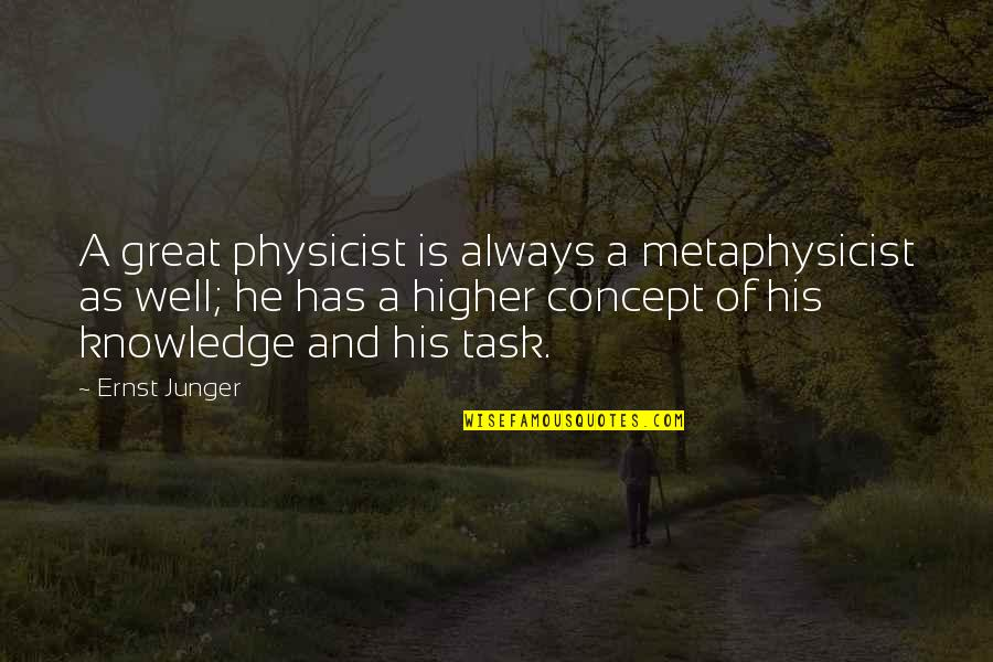 Best Coworker Quotes By Ernst Junger: A great physicist is always a metaphysicist as