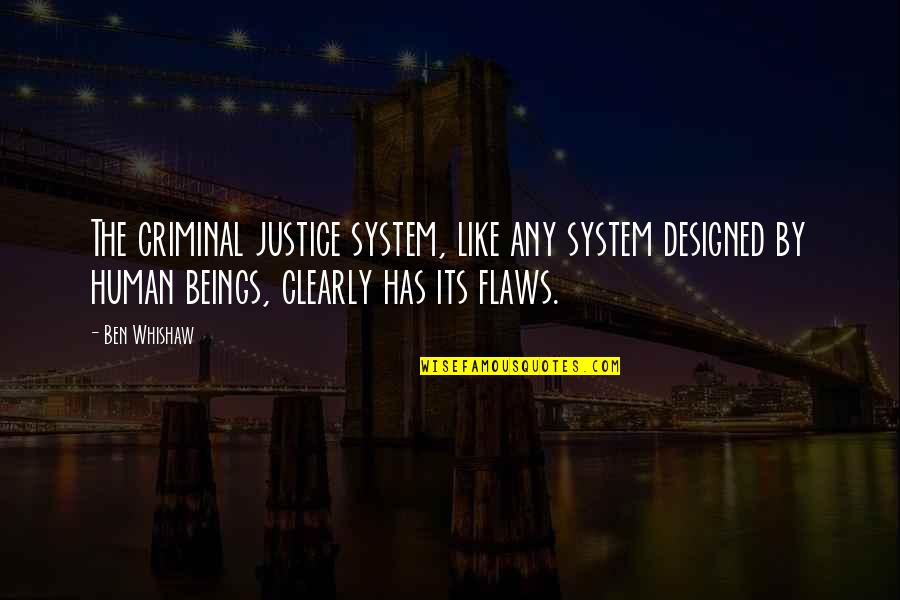 Best Criminal Justice Quotes By Ben Whishaw: The criminal justice system, like any system designed
