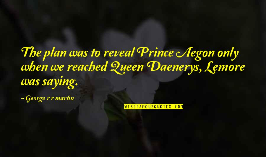 Best Daenerys Quotes By George R R Martin: The plan was to reveal Prince Aegon only
