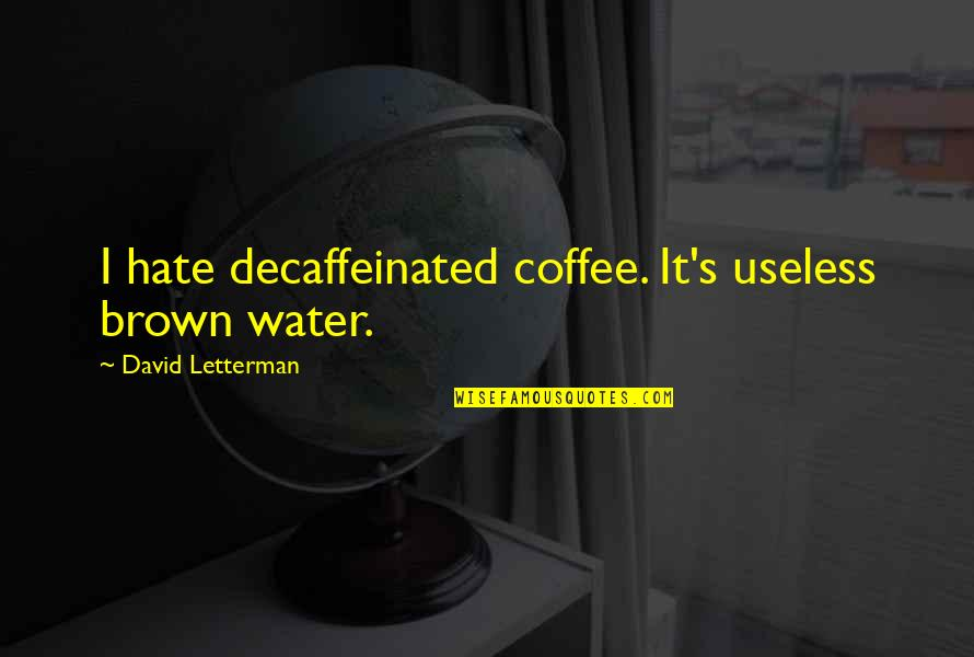 Best David Letterman Quotes By David Letterman: I hate decaffeinated coffee. It's useless brown water.