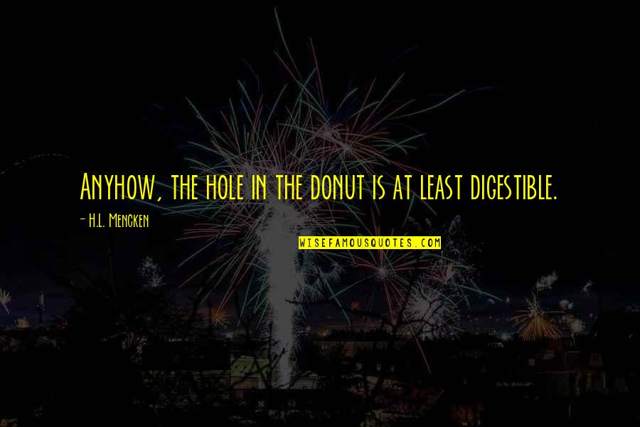Best Donut Quotes By H.L. Mencken: Anyhow, the hole in the donut is at