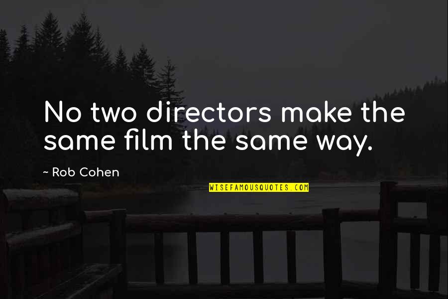 Best Film Directors Quotes By Rob Cohen: No two directors make the same film the