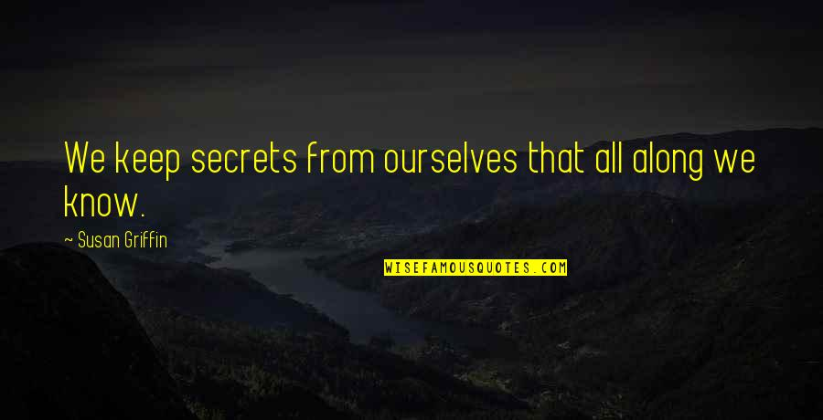 Best Friend Overseas Quotes By Susan Griffin: We keep secrets from ourselves that all along