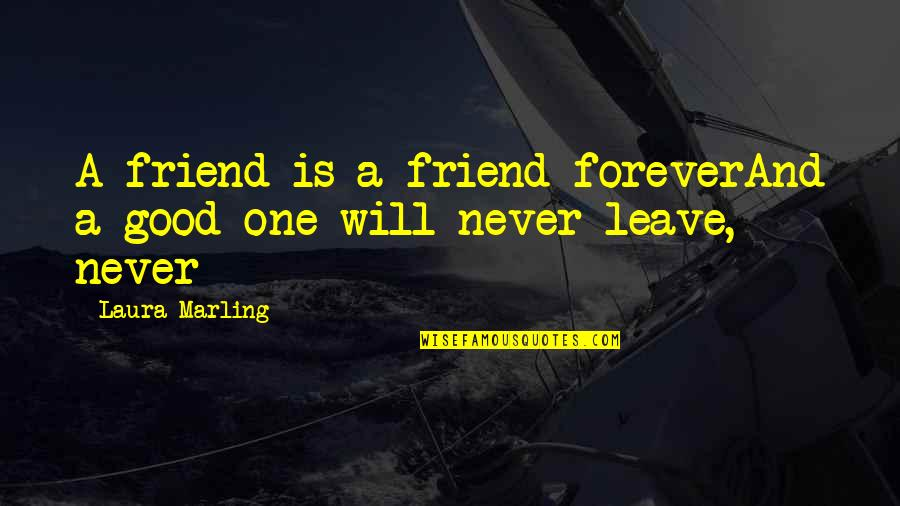 Best Friends Are Forever Quotes By Laura Marling: A friend is a friend foreverAnd a good
