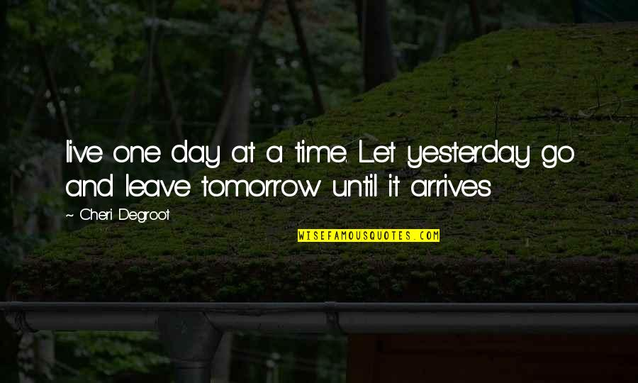 Best Friends From Day One Quotes By Cheri Degroot: live one day at a time. Let yesterday