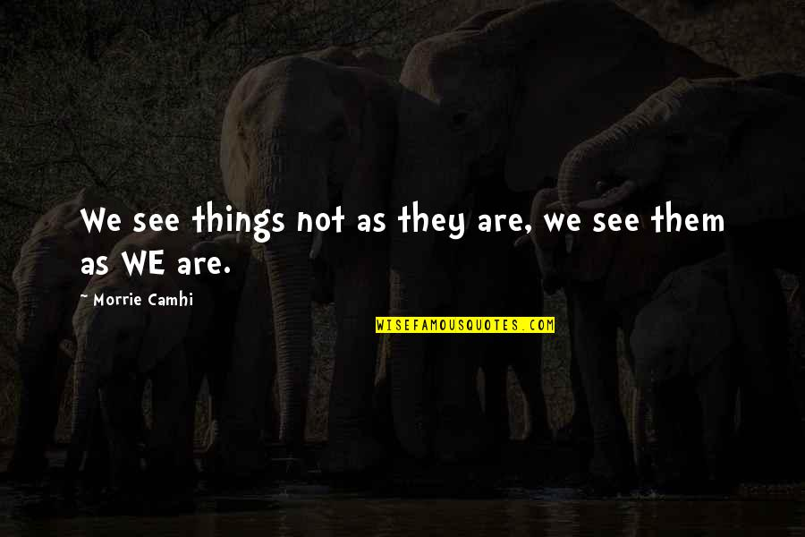 Best Fwends Quotes By Morrie Camhi: We see things not as they are, we