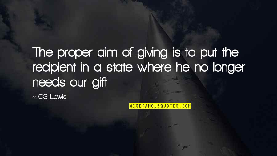 Best Gift Giving Quotes By C.S. Lewis: The proper aim of giving is to put