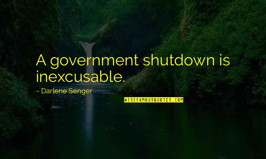 Best Government Shutdown Quotes By Darlene Senger: A government shutdown is inexcusable.