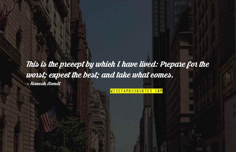 Best Hannah Arendt Quotes By Hannah Arendt: This is the precept by which I have