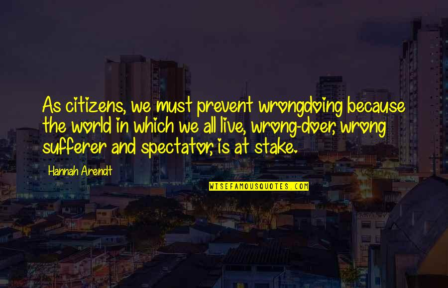 Best Hannah Arendt Quotes By Hannah Arendt: As citizens, we must prevent wrongdoing because the