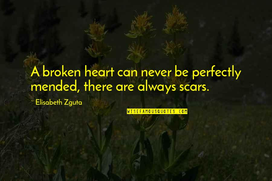 Best Heart Broken Quotes By Elisabeth Zguta: A broken heart can never be perfectly mended,