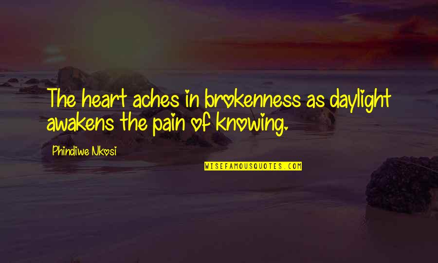 Best Heart Broken Quotes By Phindiwe Nkosi: The heart aches in brokenness as daylight awakens